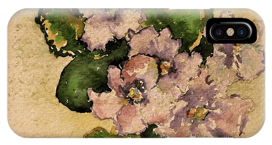 Violet IPhone X Case featuring the painting Old-fashioned African Violets by Beverley Harper Tinsley
