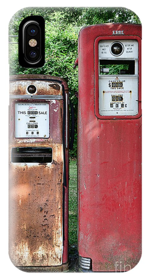 Gas Station Pumps IPhone X Case featuring the photograph Old Gas Station Pumps by Paul Ward