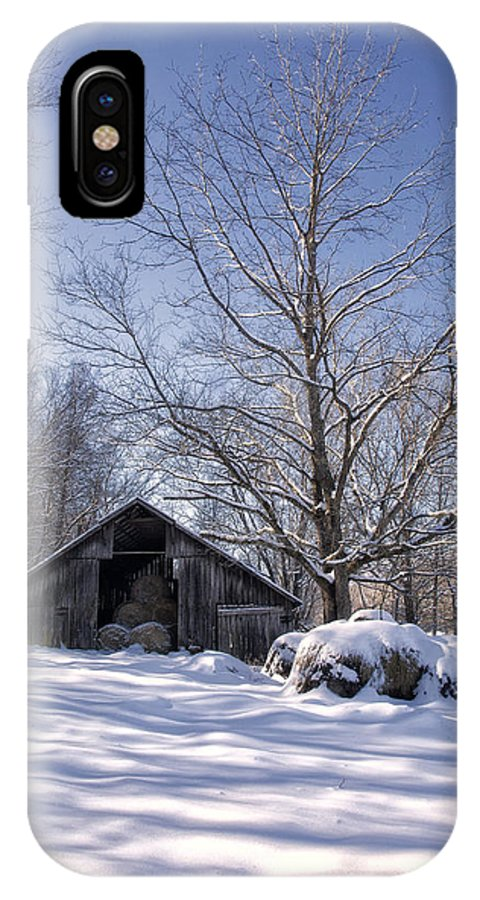 Hay Barn IPhone X Case featuring the photograph Old Hay Barn In Deep Snow by Michael Dougherty