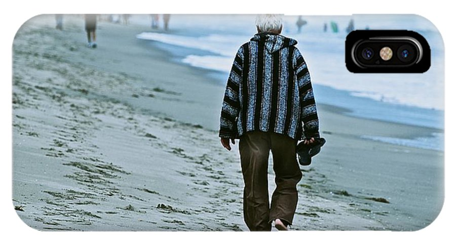 Beach IPhone X Case featuring the photograph Old Man And The Beach by Eric Tressler