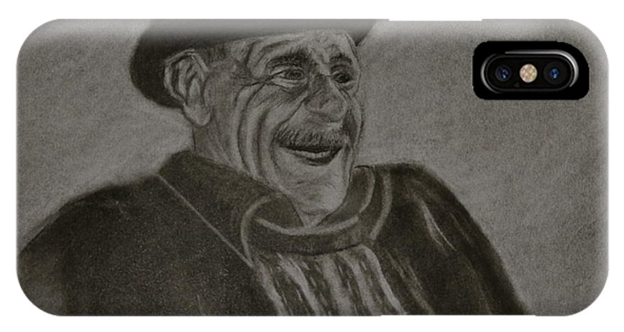 Charcoal. Man IPhone X Case featuring the drawing Old Man Laughing by Michael Brennan