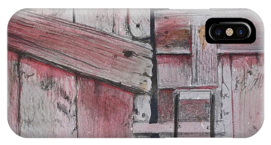 Walt Maes IPhone X Case featuring the painting Old Red Barn Door by Walt Maes