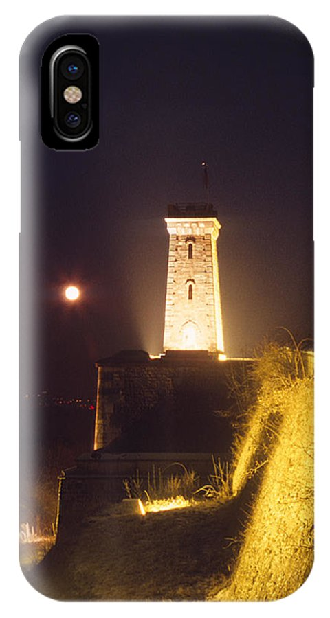 Castle IPhone X Case featuring the photograph Old Tower And Moon by Patrick Kessler