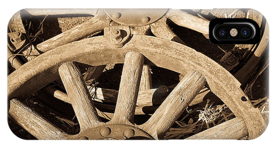 Wagon IPhone X Case featuring the photograph Old Wagon Wheels by Steve McKinzie