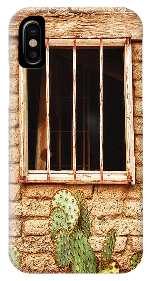 'old Jailhouse' IPhone X Case featuring the photograph Old Western Jailhouse Window by James BO Insogna
