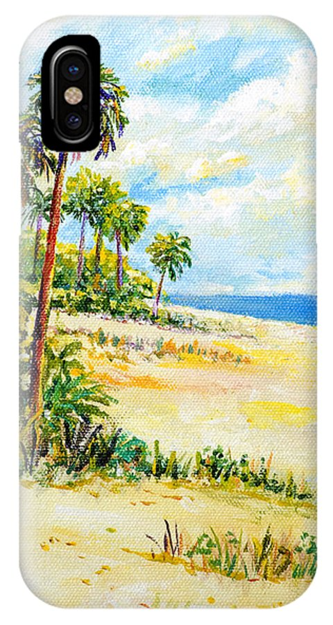 Beach IPhone X / XS Case featuring the painting On The Beach by Lou Ann Bagnall