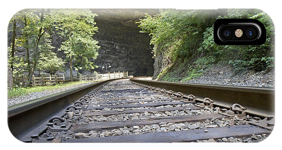 Train IPhone X Case featuring the photograph On The Tracks by Betsy Knapp