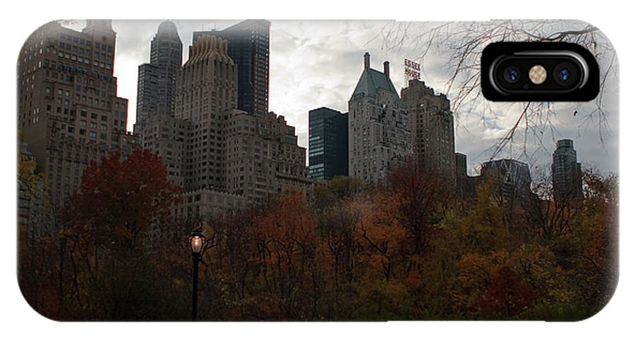 New York City IPhone X / XS Case featuring the photograph One Light On In Central Park by Lorraine Devon Wilke