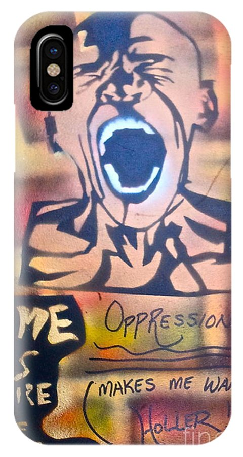 Occupy IPhone X Case featuring the painting Oppression Makes Me Wanna Holler by Tony B Conscious