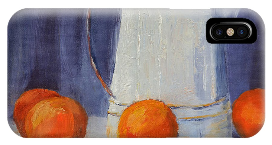 Cindy Roesinger IPhone X Case featuring the painting Oranges Still Life by Cindy Roesinger