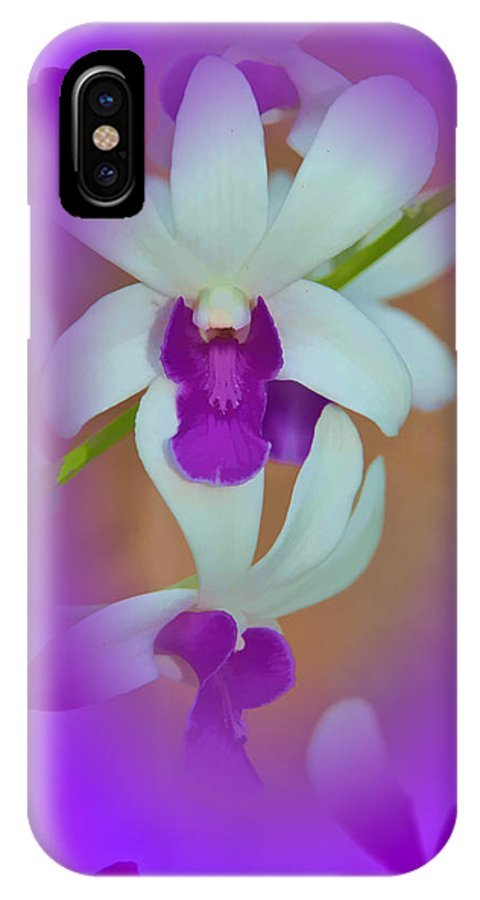 Orchid IPhone X Case featuring the photograph Orchid Vignette by Beverly Hanson