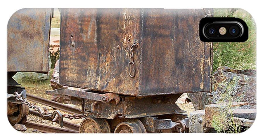 Ore Car Train IPhone X Case featuring the photograph Ore Car Trian by Phyllis Denton