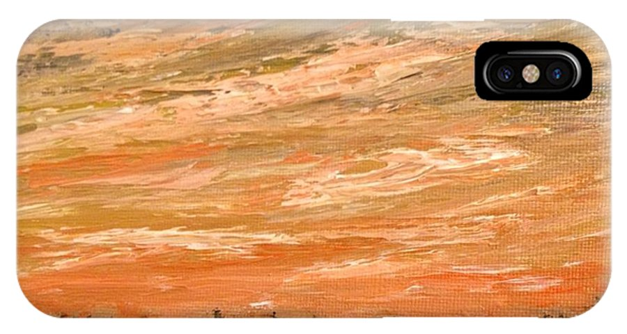 IPhone X Case featuring the painting Organge Northern Sky by Desmond Raymond