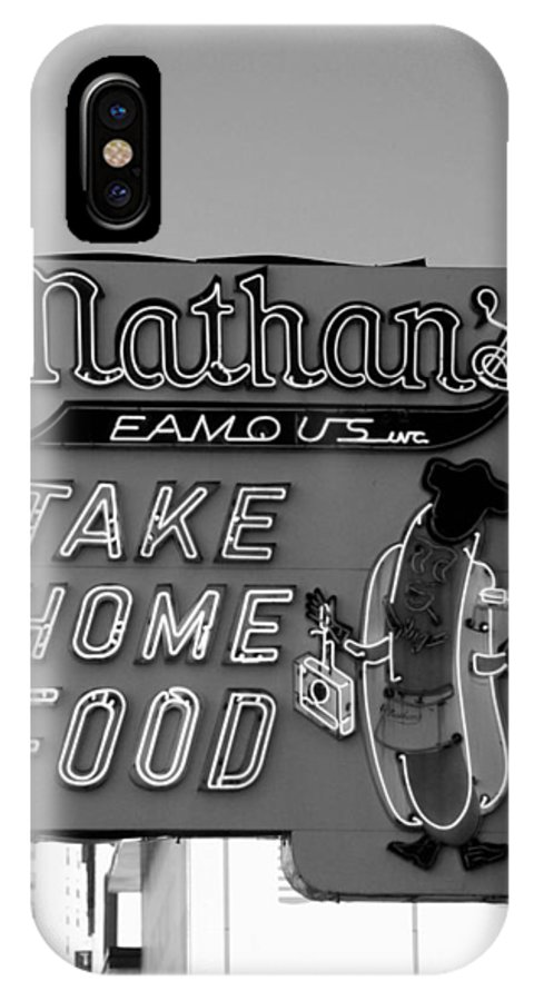 Brooklyn IPhone X Case featuring the photograph Original Nathan's In Black And White by Rob Hans