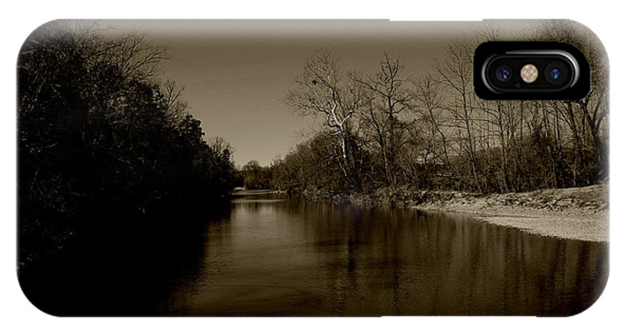 Sepia IPhone X Case featuring the photograph Ouachita River by Nina Fosdick