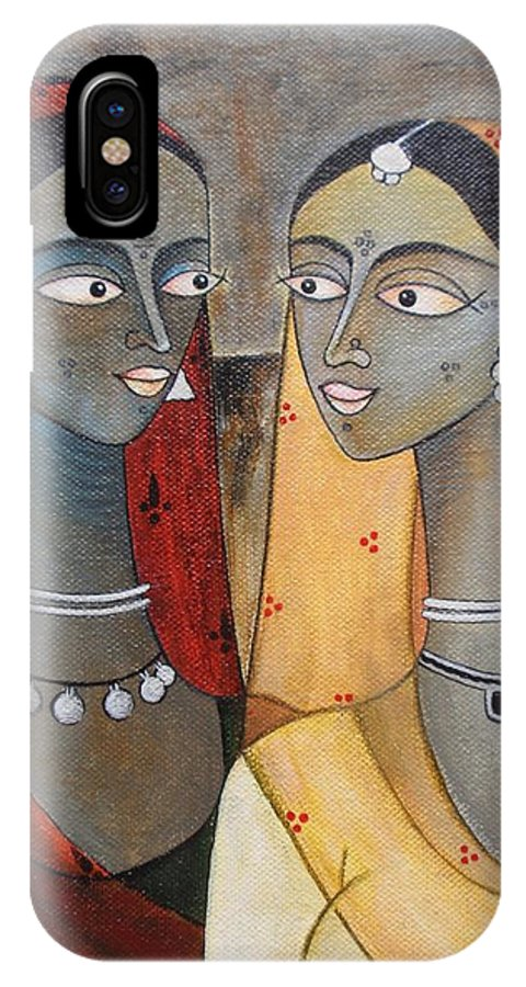 Original Painting IPhone X Case featuring the painting Our Secrets by Sanam Patil
