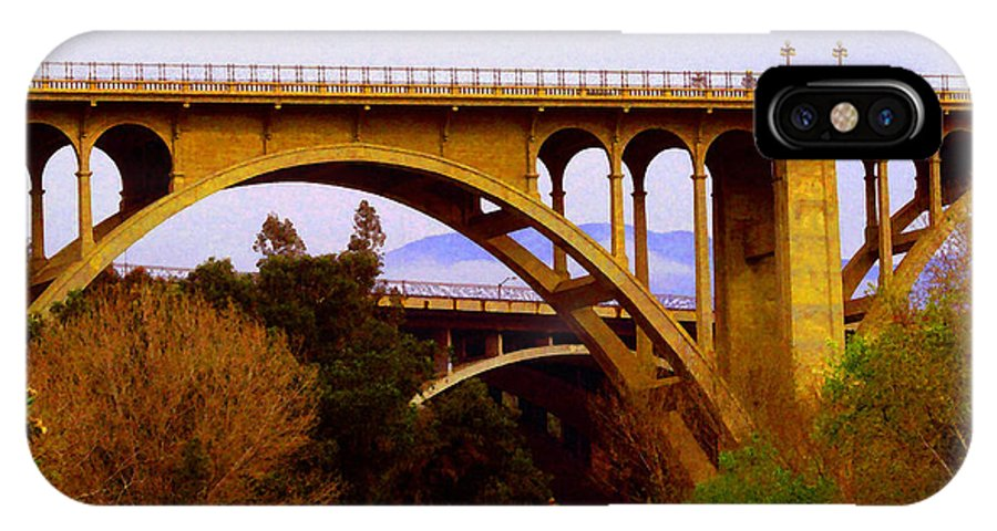 Colorado Street IPhone X / XS Case featuring the photograph Over The Arroyo by Timothy Bulone