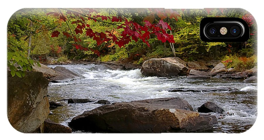 Canada IPhone X Case featuring the digital art Ox Tongue River Algonquin by Pat Speirs