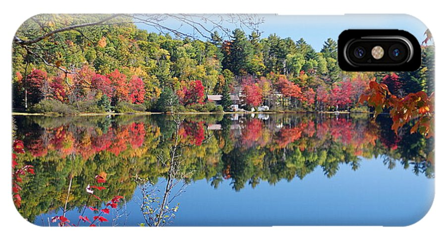 Canada IPhone X Case featuring the digital art Paint Lake Muskoka Canada by Pat Speirs