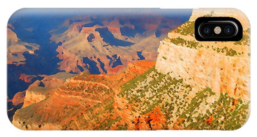 Grand Canyon IPhone X Case featuring the digital art Painted Grand Canyon Before Sunset by Eva Kaufman