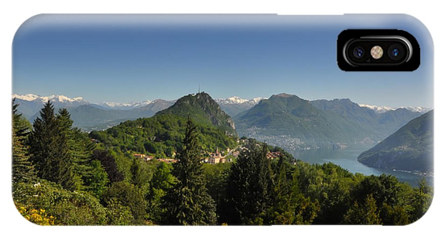 Panorama IPhone X Case featuring the photograph Panorama View Over Mountain by Mats Silvan