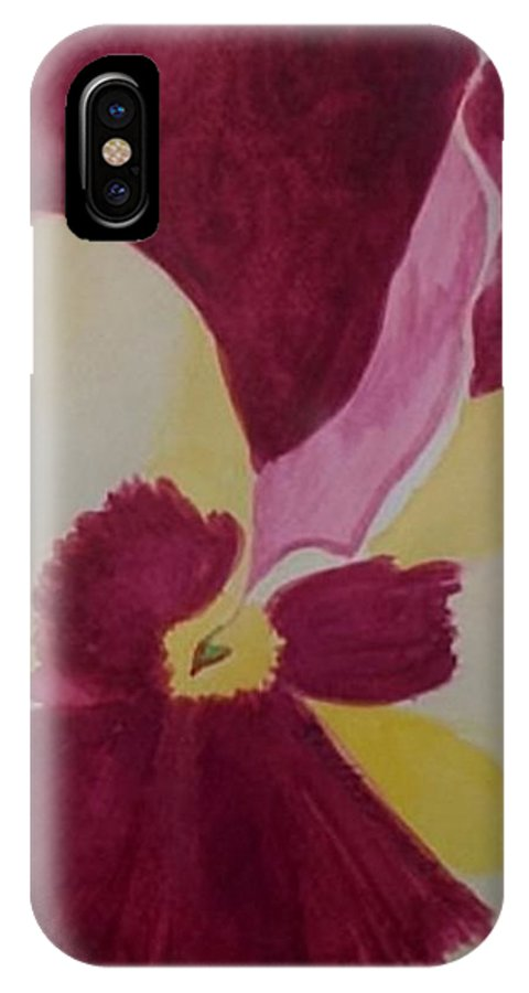 Pansy IPhone X Case featuring the painting Pansy by Michele Moore