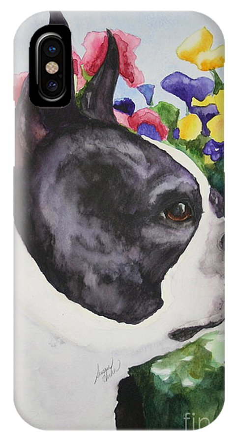 Boston Terrier IPhone X / XS Case featuring the painting Pansy by Susan Herber