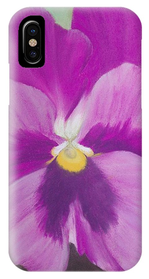 Still Life IPhone X Case featuring the drawing Pansy V by Loueen Morrison