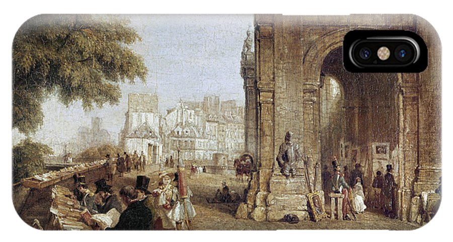 1843 IPhone X / XS Case featuring the photograph Paris: Book Stalls, 1843 by Granger