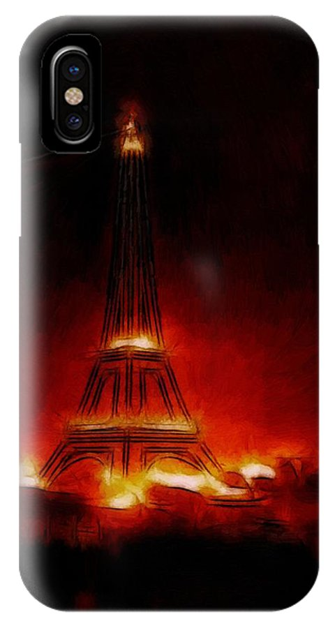 Paris France Night Nights Nightlife Eiffel Tower Light Lights Expressionism Impressionism Red Orange Yellow Glow Glowing Painting City Cityscape Monument IPhone X Case featuring the painting Paris Nights by Steve K