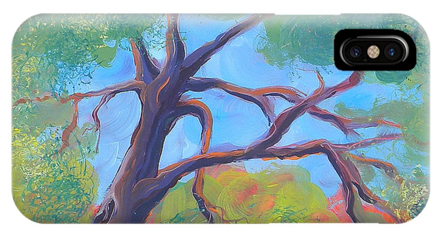 Original Oil Painting IPhone X Case featuring the painting Park Trees 9 by Pam Van Londen
