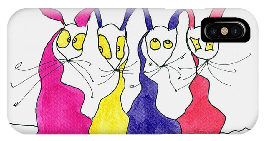 Party IPhone X / XS Case featuring the painting Party Animals by Tis Art