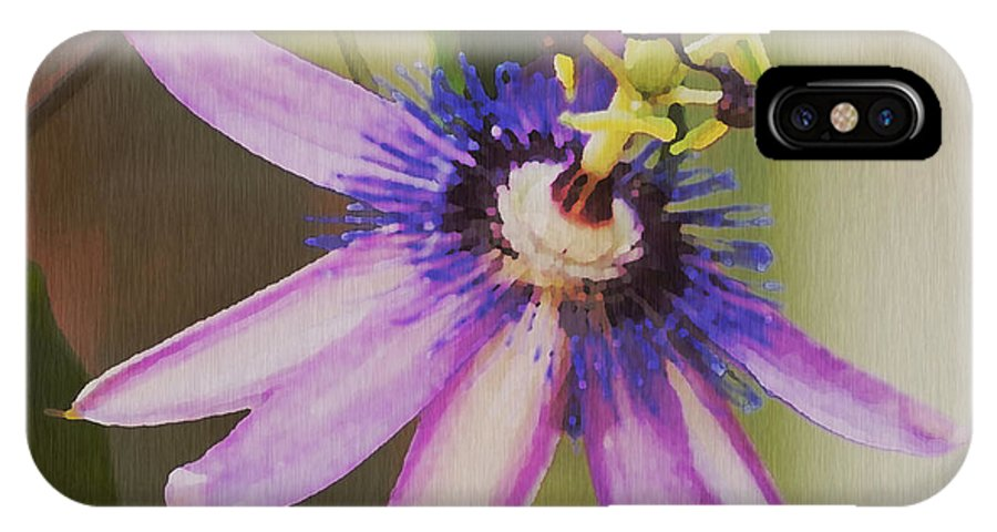 Passion Flower IPhone X Case featuring the painting Passion Flower by Artist and Photographer Laura Wrede