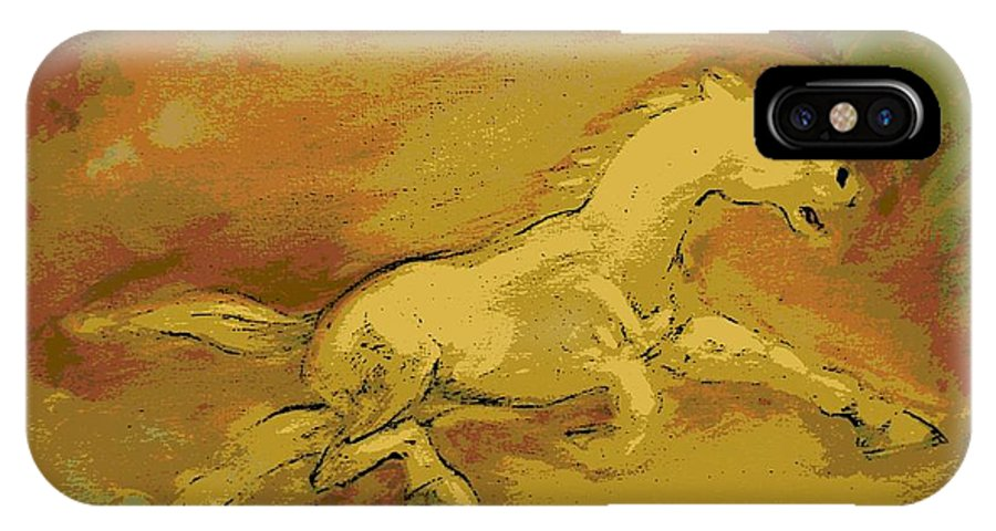 Horse IPhone X Case featuring the painting Passion by George Pedro
