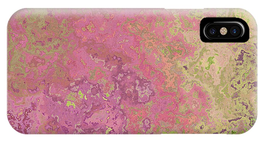 Abstract IPhone X Case featuring the digital art Pastle Pink Stone by Debbie Portwood