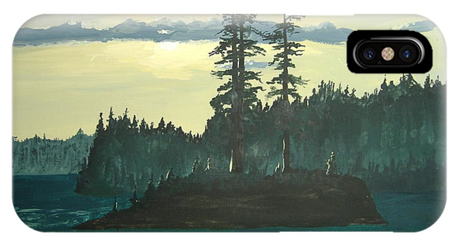 Landscape IPhone X Case featuring the painting Peace And Quiet by Norm Starks
