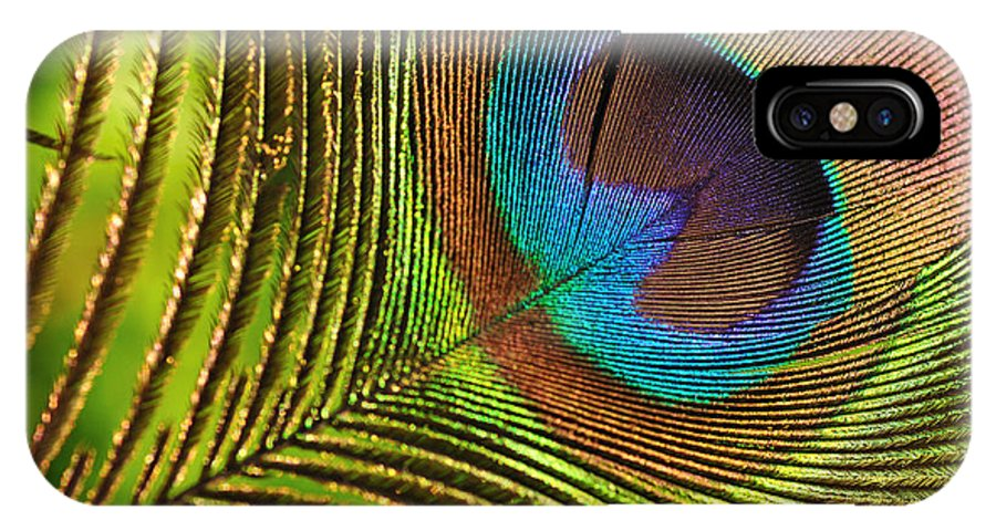 Photography IPhone X Case featuring the photograph Peacock Feather by Kaye Menner