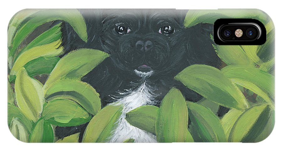 Pekingese IPhone X Case featuring the painting Peek A Peke by Ania M Milo