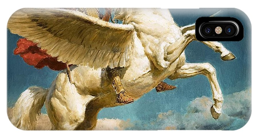 Pegasus Winged Horse; Flying; Chimaera; Monster; Dragon; Bellerophon; Greek Legend; Pegase IPhone X Case featuring the painting Pegasus The Winged Horse by Fortunino Matania