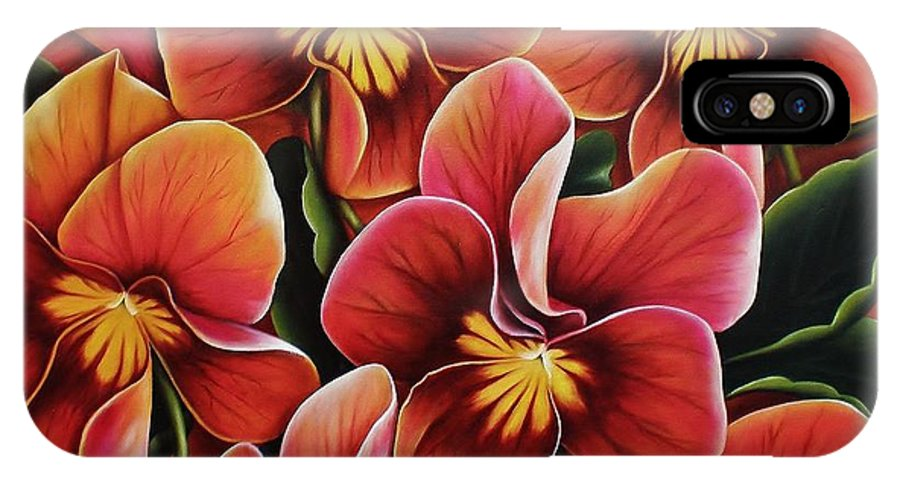 Pansies IPhone X Case featuring the painting Perfect Love by Paula Ludovino