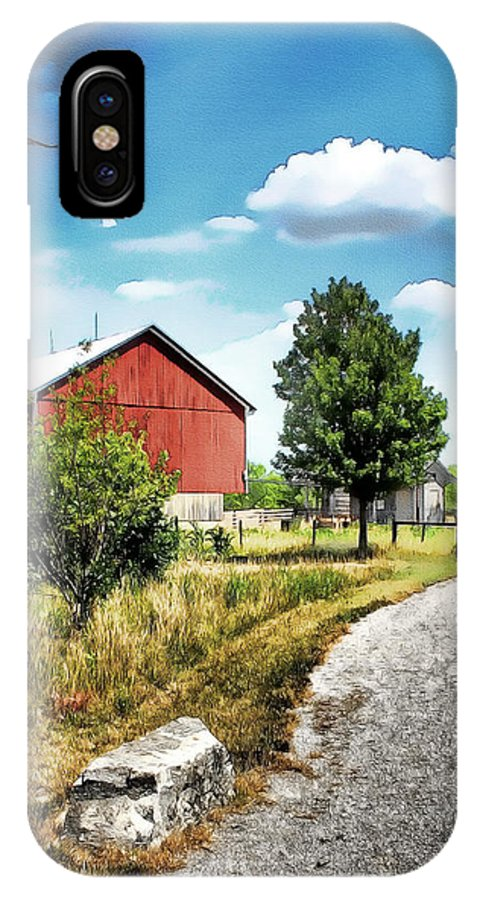 Watercolor Farms IPhone X Case featuring the painting Peter Stuckey Farm by Tom Schmidt