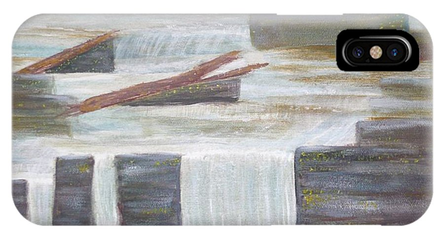 Pete's Dam IPhone X Case featuring the painting Pete's Dam by Monika Shepherdson