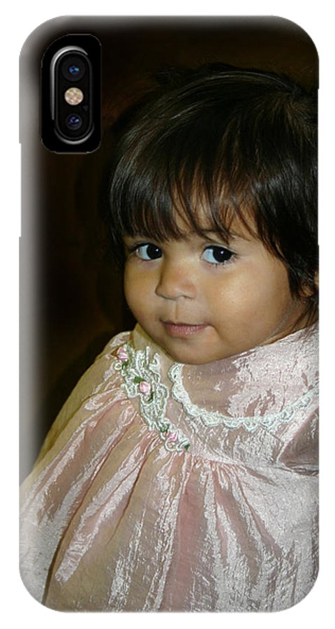 Girl IPhone X Case featuring the photograph petite Mona Lisa smile by Nina Fosdick