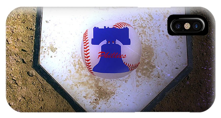 Phillies IPhone X Case featuring the photograph Phillies Home Plate by Bill Cannon