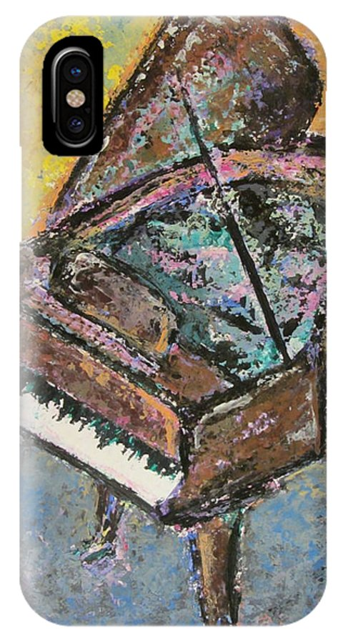 Piano IPhone X Case featuring the painting Piano Study 2 by Anita Burgermeister