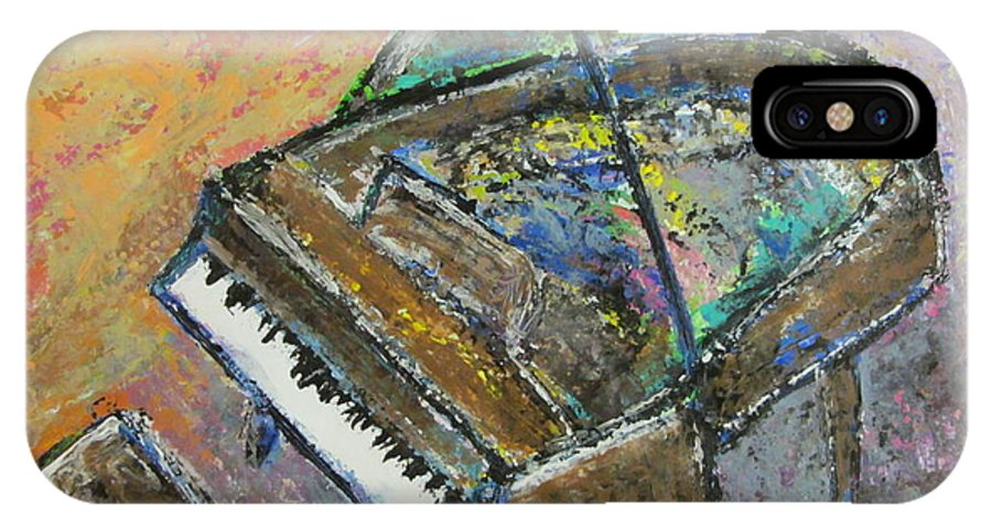 Piano IPhone X Case featuring the painting Piano Study 4 by Anita Burgermeister