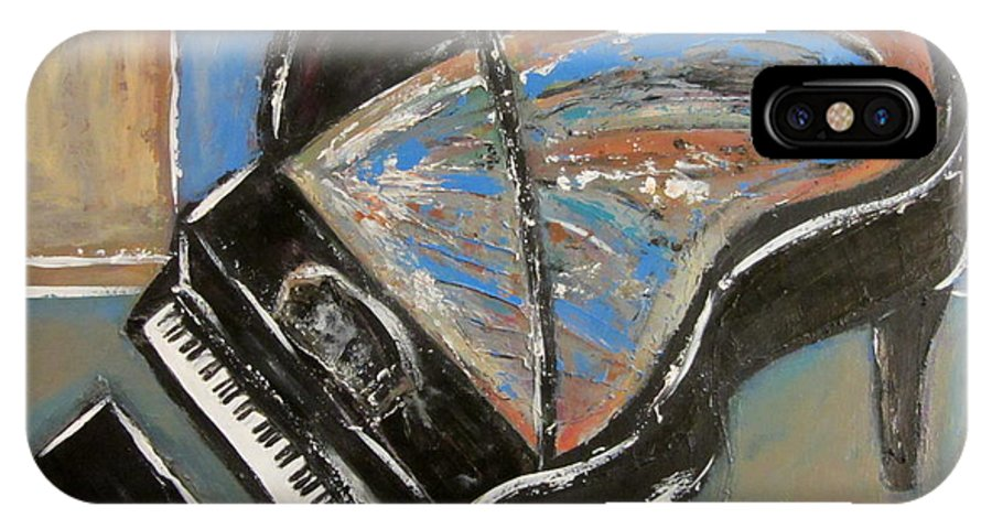 Piano IPhone X Case featuring the painting Piano With Spiky Heel by Anita Burgermeister
