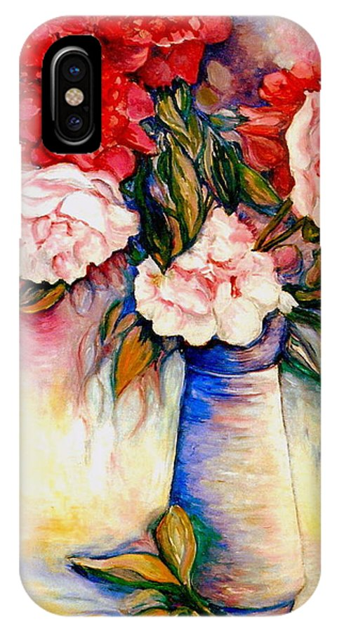 The Colors Of Quebec IPhone X Case featuring the painting Pink And Red Peony Roses In A Tall Blue Porcelain Vase by Carole Spandau