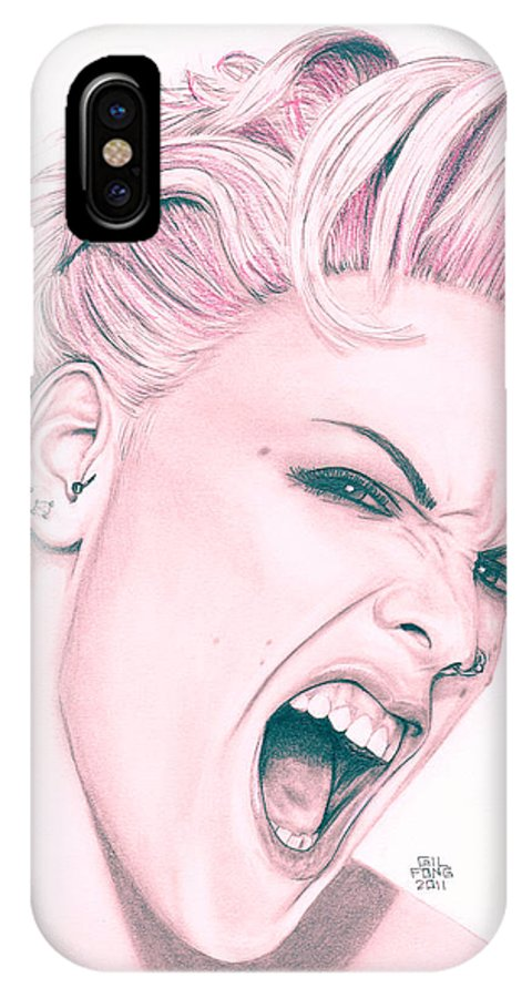 Pencil IPhone X / XS Case featuring the drawing Pink by Gil Fong