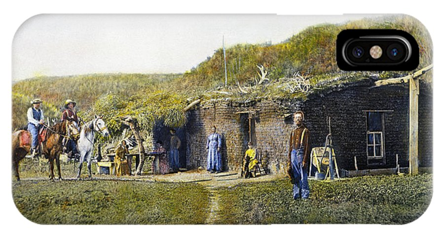 1887 IPhone X Case featuring the photograph Pioneers Sod House, 1887 by Granger